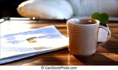 coffee - A cup of coffee with smoke and reading book time