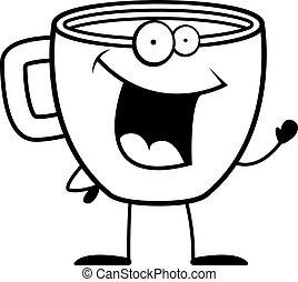 A Happy Cartoon Cup Of Coffee Waving And Smiling