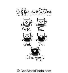 Coffee week evolution funny card with lettering