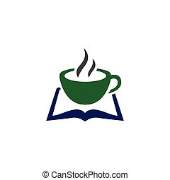 coffee with book logo icon vector