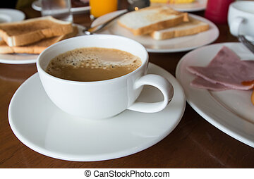 coffee with Breakfast on table