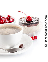 coffee with chocolate cake isolated on white background