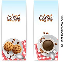 Coffee with cookies breakfast banners set - Morning...