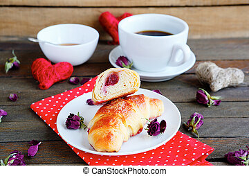 coffee with crispy French croissant, food