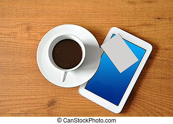 coffee with digital tablet