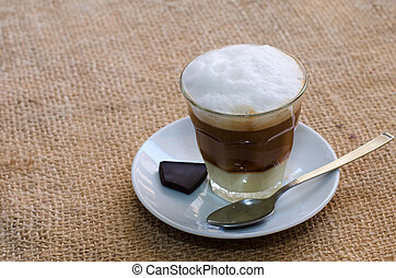 Coffee with foam milk background