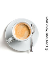 Coffee with foam on a white background