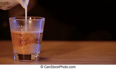Coffee with milk in a glass closeup.