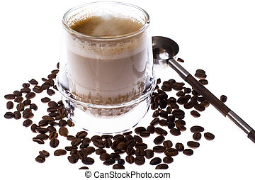 Coffee with milk in glass cup on white background