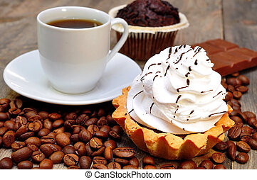 coffee with muffin, cake and chocolate