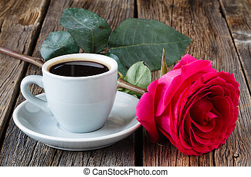Coffee with red rose