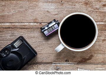 coffee with retro camera