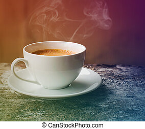 Coffee with smoke in a cup of coffee