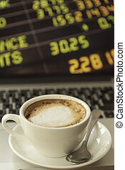 Coffee with the stock market to do business, vintage filtered Images