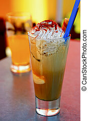 Coffee with whipped cream and ice cream