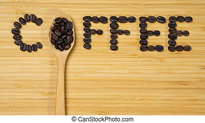 Coffee word made from coffee beans and spoon