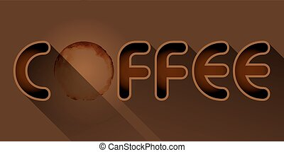 coffee word with coffee stain - coffee word and coffee stain...