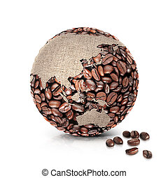 coffee world 3D illustration asia and australia map
