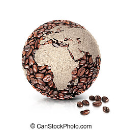 coffee world 3D illustration europe and africa map