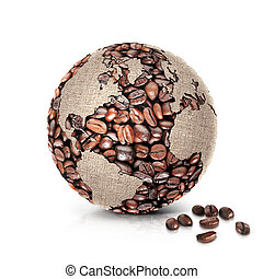 coffee world 3D illustration north and south america map