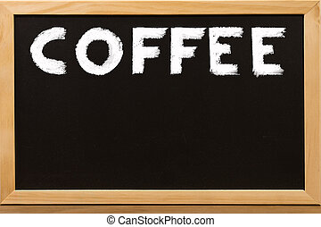 COFFEE write by white chalk on a blackboard.