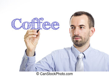 Coffee - Young businessman writing blue text on transparent surface