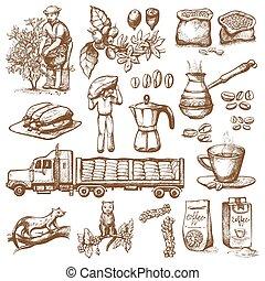 coffeebean, コーヒー, ベクトル, illustration., 農夫, 型, 飲みなさい, 木, スケッチ...