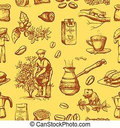coffeebean, スケッチ, ベクトル, 背景, 図画, 型, 飲みなさい, 木, seamless, ...