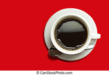 Coffeecup with Coffee on a red background
