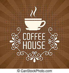 Coffeee design - Coffee design over brown background, vector...