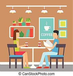Coffeehouse Visitors, Couple Having Coffee Inside