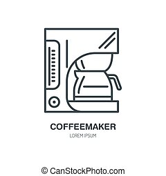 Coffeemaker, coffe machine vector line icon. Barista...