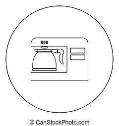 Coffeemaker coffee machine black icon in circle vector illustration isolated .