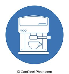 Coffeemaker icon in black style isolated on white background. Kitchen symbol stock vector illustration.