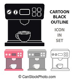 Coffeemaker icon in cartoon style isolated on white...
