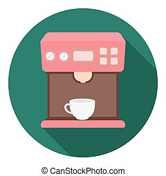 Coffeemaker icon in flat style isolated on white background....