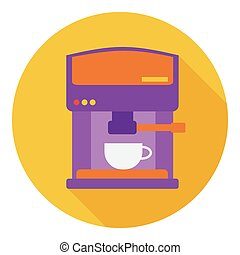 Coffeemaker icon in flat style isolated on white background. Kitchen symbol stock vector illustration.