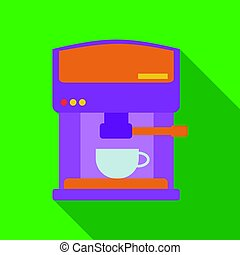 Coffeemaker icon in flate style isolated on white background. Kitchen symbol stock vector illustration.