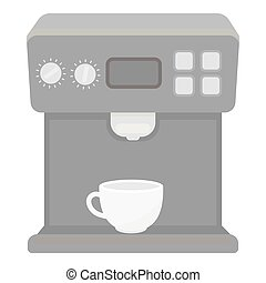 Coffeemaker icon in monochrome style isolated on white...