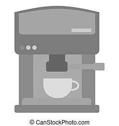 Coffeemaker icon in monochrome style isolated on white background. Kitchen symbol stock vector illustration.