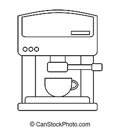 Coffeemaker icon in outline style isolated on white...