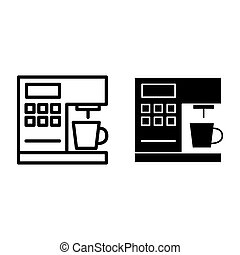 Coffeemaker line and glyph icon. Coffee machine vector illustration isolated on white. Appliance outline style design, designed for web and app. Eps 10.