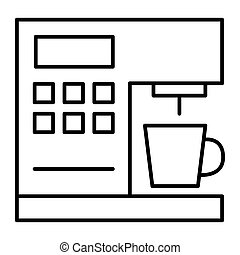 Coffeemaker thin line icon. Coffee machine vector illustration isolated on white. Appliance outline style design, designed for web and app. Eps 10.