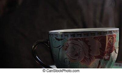 coffeepot, kawa, para, lać, filiżanka