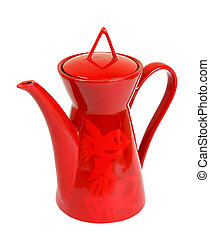 Red modern coffeepot isolated. Clipping path
