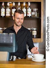 coffeeshop, カウンター, barista, ジェスチャーで表現する