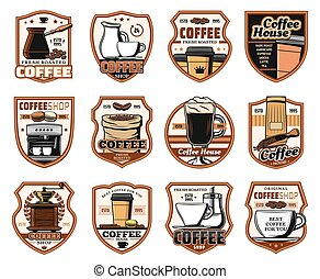 Coffeeshop cafeteria, coffee house icons - Coffee, cafe and...