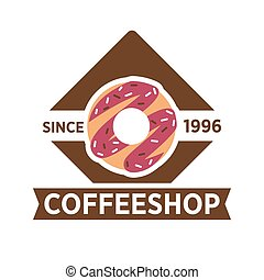 Coffeeshop, cafeteria or cafe vector icon template -...