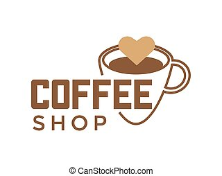 Coffeeshop coffee cup and cappuccino heart vector icon for...