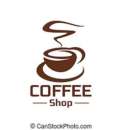 Coffeeshop coffee cup steam vector icon - Coffee cup and hot...